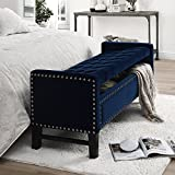 Inspired Home Columbus Velvet Modern Contemporary Button Tufted with Silver Nail Head Trim Multi Position Storage Bench, Navy