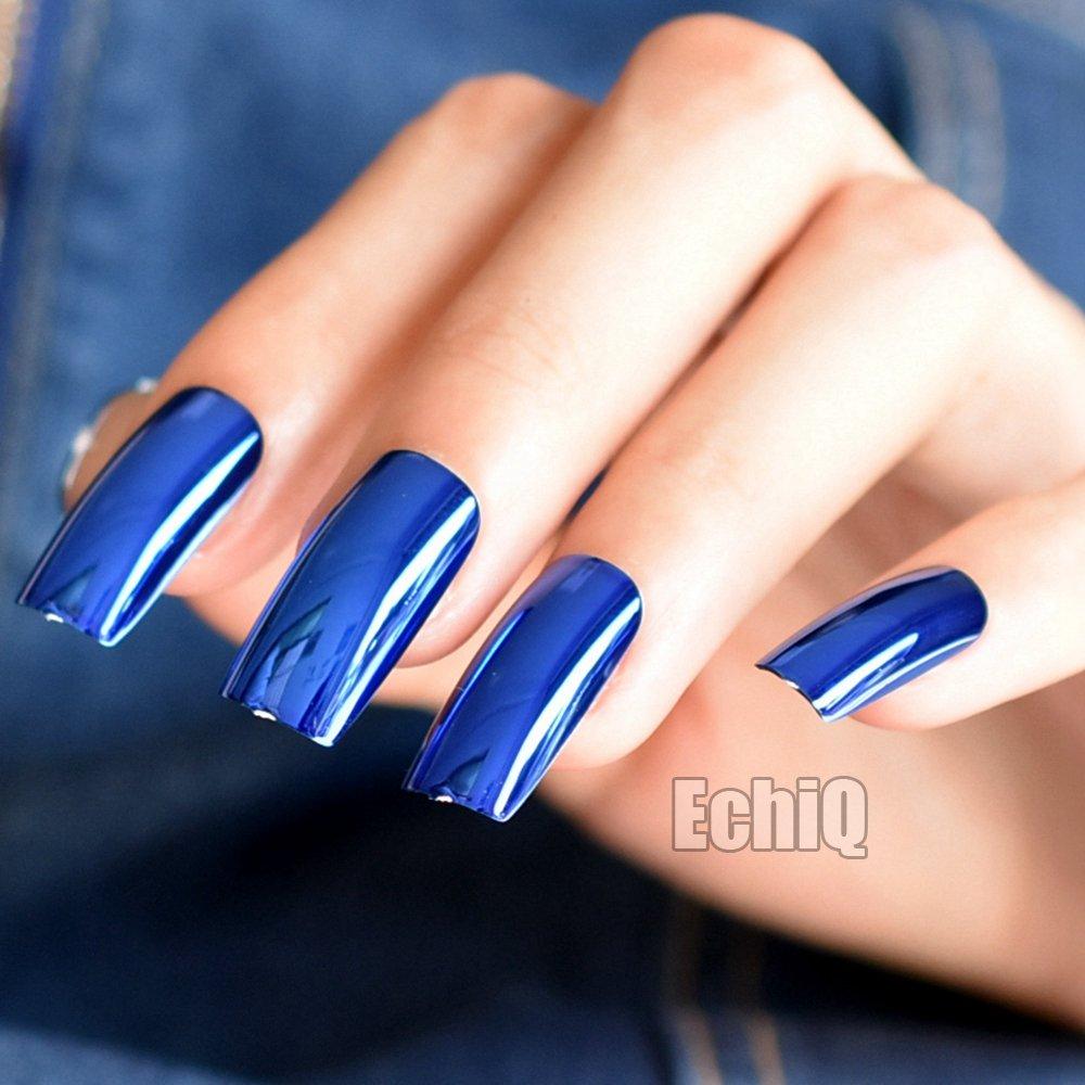 Amazon.com : Extra Long Press On Nails Diamond Blue Mirror Shiny ...