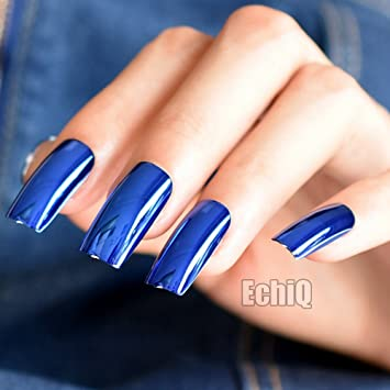 Amazon.com : Extra Long Press On Nails Diamond Blue Mirror Shiny ...