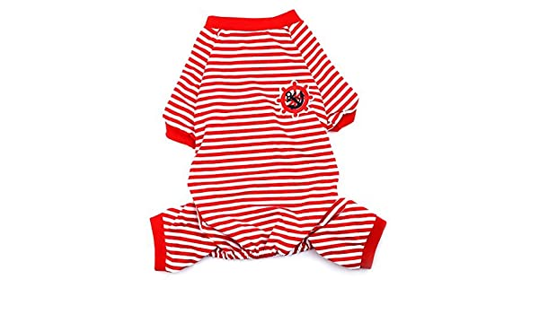 Amazon.com : Padrão DealMux Anchor leme Bordado Pet Puppy Dog Stripe Dormir Vestidos Roupa Pijama Jumpsuit Tamanho L : Pet Supplies