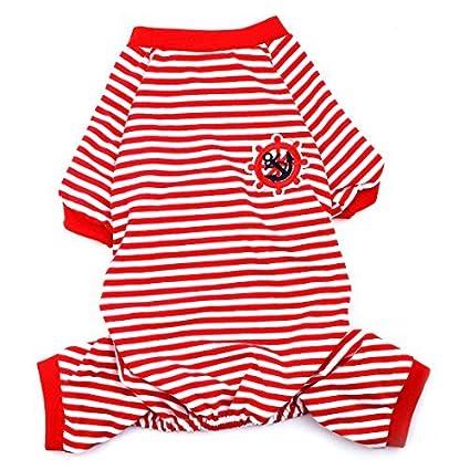 Padrão DealMux Anchor leme Bordado Pet Puppy Dog Stripe Dormir Vestidos Roupa Pijama Jumpsuit Tamanho L