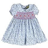 sissymini Infant and Toddlers (12M-4T) Soft Printed Cotton Hand Smocked Dresses | Tessa Talbot's Raindrop in Baby Blue -3T