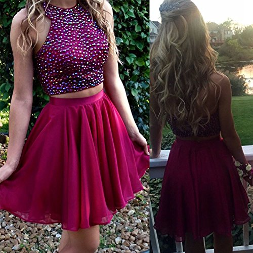 618 E2jY86L - Hatail Short 2 Piece Beaded Prom Dress High Neck Chiffon Evening Gown For Women
