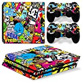 MODFREAKZ™ Console and Controller Vinyl Skin Set - Game Sticker Bomb for PS4 Pro