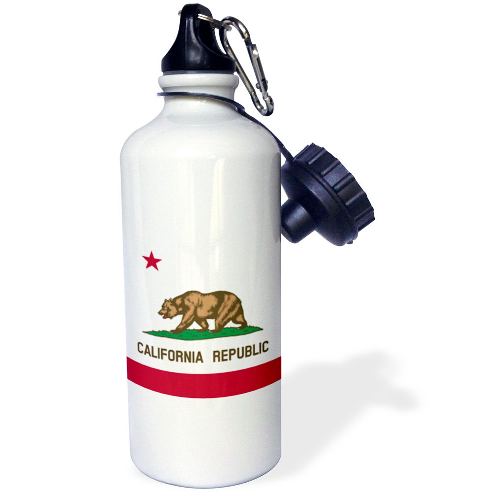 3dRose wb_158295_1 Flag of California Republic-Us American State-United States of America-The Bear Flag White Red Sports Water Bottle, 21 oz, White
