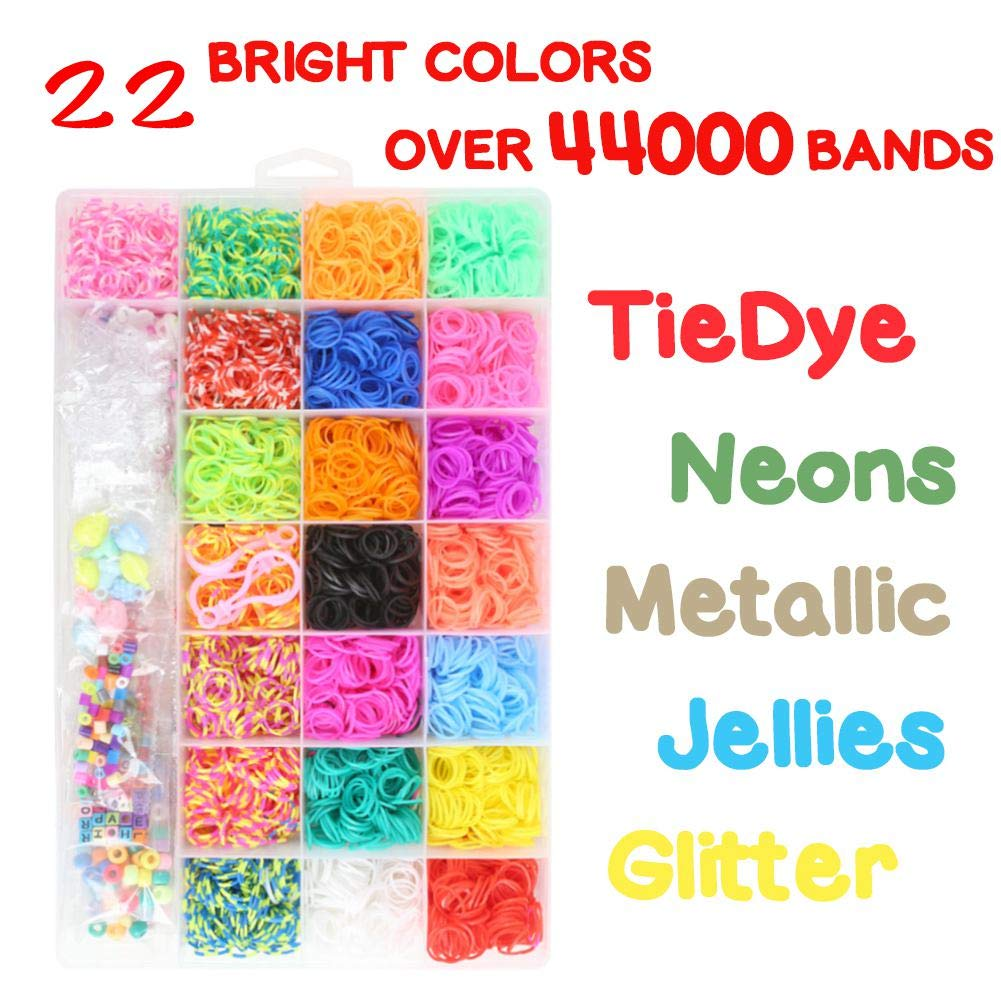 Koogel Colorful Rubber Bands Loom Set Premium Loom Bands 22 Colors,35 Pendants,6 Small Crochets,300 Beads Pack,500 S Buckles, Organizer for DIY Jewelry Dolls Hats Skirts