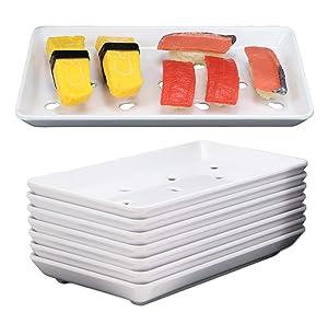 "Ebros Gift Japanese Raw Food Preparation And Storage White Neta Zara Melamine Sushi Sashimi Chef Serving Plate With Drip Holes For Sushi Case 8.75""L x 5""W Restaurant Supply (Pack of 8)"