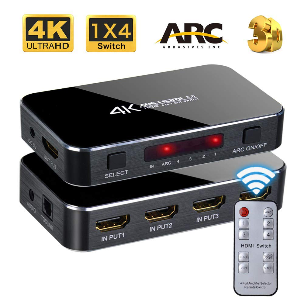 HDMI Switch 4x1 4K 60hz HD ARC Audio Optical TOSLINK HDCP 2.2 HDMI Switcher 2.0 with IR Remote Control Yishen