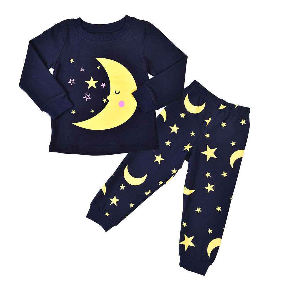 Kehen Kid Cotton Pajamas Toddler Boy Girl Autumn Winter Outfit Soft Home Wear 2pc Moom and Stars Print Pullover+Pants