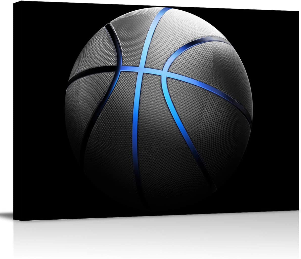 Black Abstract Basketball Blue Lines Canvas Wall Art Prints Painting Picture, Sports Walls Decor Artworks for Living Room Bedroom Bathroom, Ready to Hang Arts, 12x18In