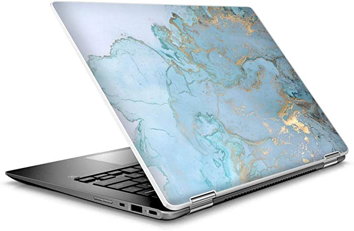 "Laptop Notebook Skin Vinyl Sticker Cover Decal for 14"" HP 2 in 1 Touchscreen Chromebook x360 - Teal Blue Gold White Marble Granite"