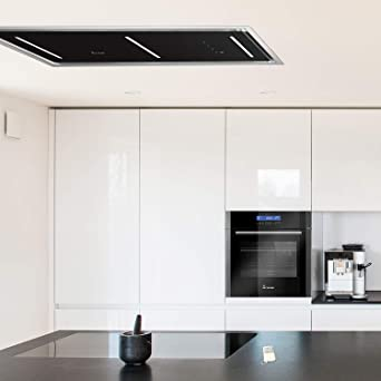 Ceiling Mounted Extractor Fan >> Ceiling Mounted Extractor Hood 90cm Stainless Steel 4 Steps Black Glass Led Lighting Sensortouch Control Exhaust Air Or Circulating Air