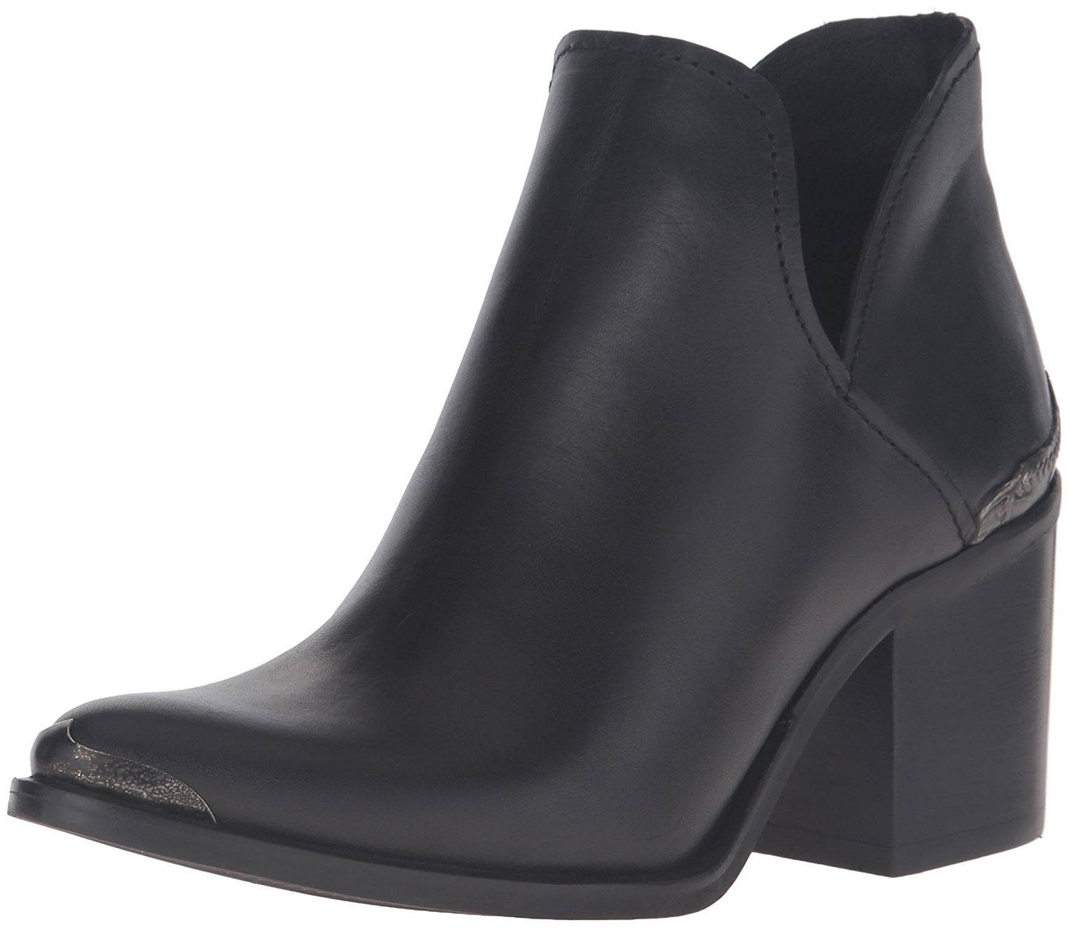 Steve Madden Women's Posey Ankle Bootie, Black Leather, Size 9.5