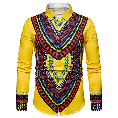 GOVOW African Print Shirts for Men Big and Tall - Autumn Luxury Long Sleeve Dashiki Shirt Top Blouse(US:4/CN:M,Yellow) from GOVOW