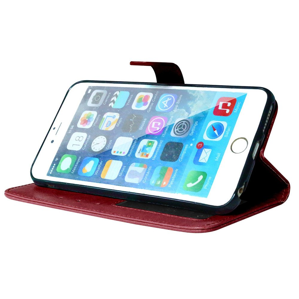 5,5 Zoll Lederh/ülle Style Acht Farbe Weich PU Flip Case Ledertasche//Schutz Etui Karten Slot Foto Wallet H/ülle Nancen Compatible with Handyh/ülle iPhone 6 Plus // 6S Plus
