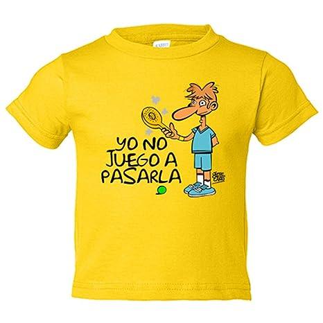 Camiseta niño Padel yo no juego a pasarla - Amarillo, 3-4 años