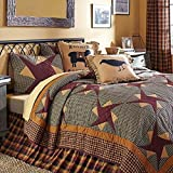8-pc FOLKWAYS Friendship Star Farmhouse Cali King Set - Quilt, Shams, Crow Pillow, Primitive Blessings Pillow, Baa Baa Sheep Pillow, Primitive Check Bed Skirt, (1) BONUS Prim Burlap Star Pillow Cover