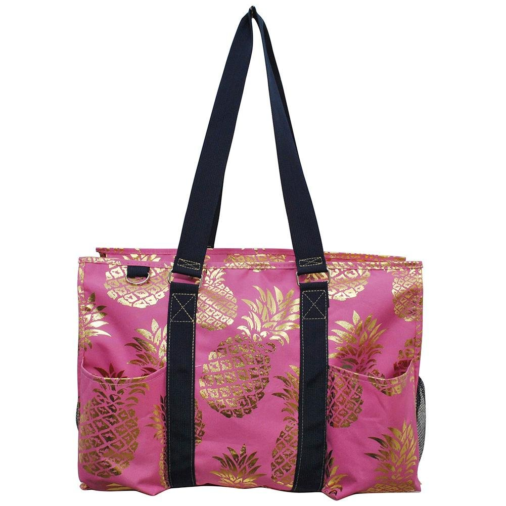 NGIL All Purpose Organizer 18'' Large Utility Tote Bag 2018 Spring Collection (Gold Southern Pineapple Pink) by NGIL