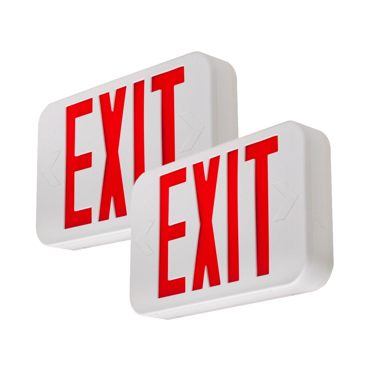 LFI Lights - 2 Pack - UL Certified - Hardwired Red LED Exit Sign, Modern Design - Battery Backup - Emergency Fire Safety - UL924 - LEDRBBJRx2