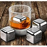 6 x Stainless Steel Whiskey Stones Ice Cubes, - Reusable Drinks Stones, Metal Ice Cooling Rocks For Scotch, Whisky, Brandy By The Kitchen Gift Company®