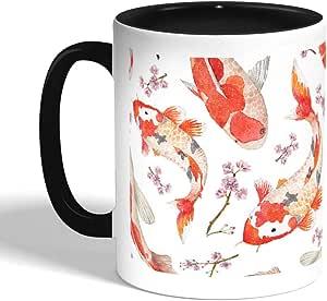 Fish Printed Coffee Mug, Black