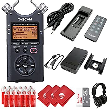 TASCAM 4-Track Portable Digital Audio Recorder with DSLR Accessory Pack, External Battery Pack, AC Power Adapter, Headphones, 32GB Memory Card, 12 pcs AA Batteries and 3 pcs Microfiber Cloth (DR-40)