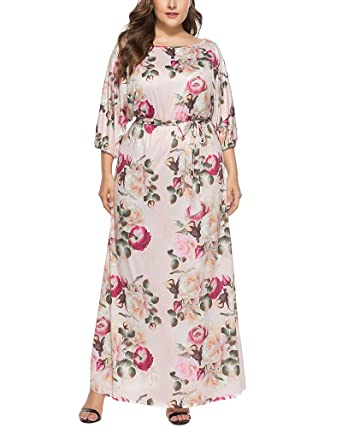 Plus Size Dresses - Stretchy Floral 3/4 Sleeve Casual ...