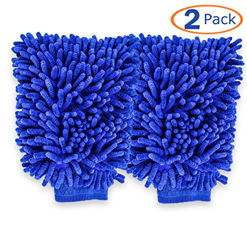 Conwork Microfiber Car Wash Mitt, Premium Ultra-Soft No-Scratch Car Household Wash Cleaning Gloves, Use Wet or Dry, 2-Pack Blue Color