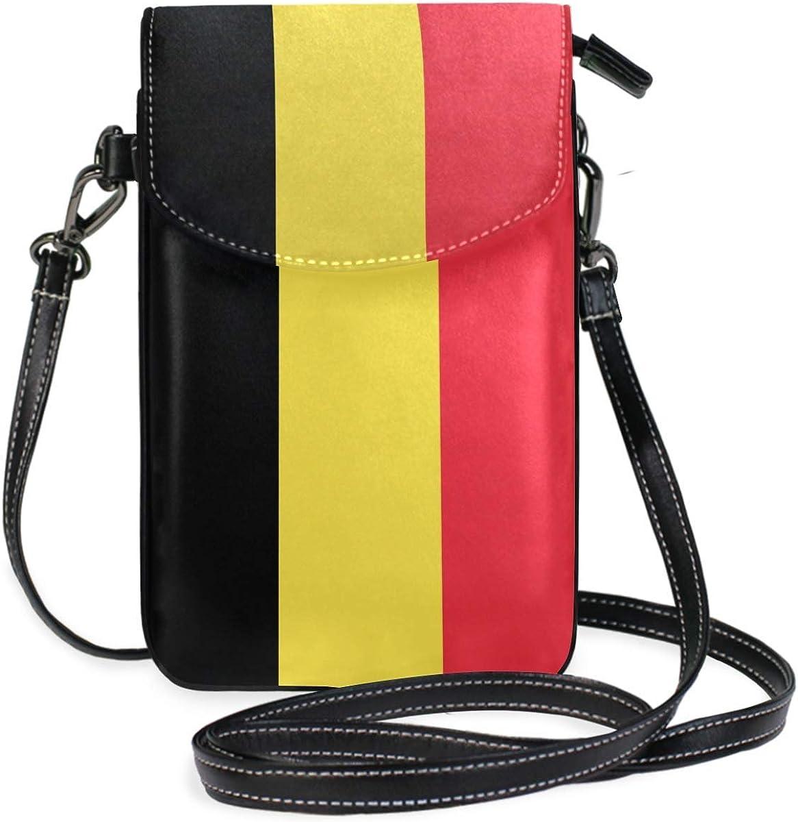 XCNGG Cartera de teléfono móvil oficial de Bélgica con bandera belga para mujer y niña, pequeños bolsos cruzados