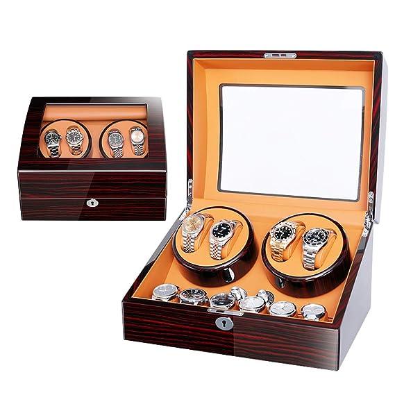 Lujo Madera Automático Cajas Giratorias para Relojes para 4 ...