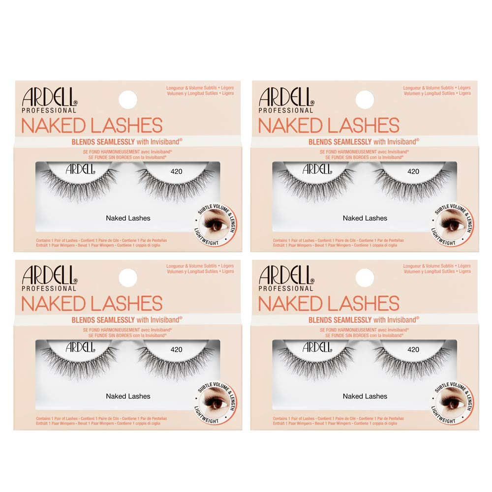 Ardell False Lashes, Naked Lashes 420 with Invisiband, 4 pairs