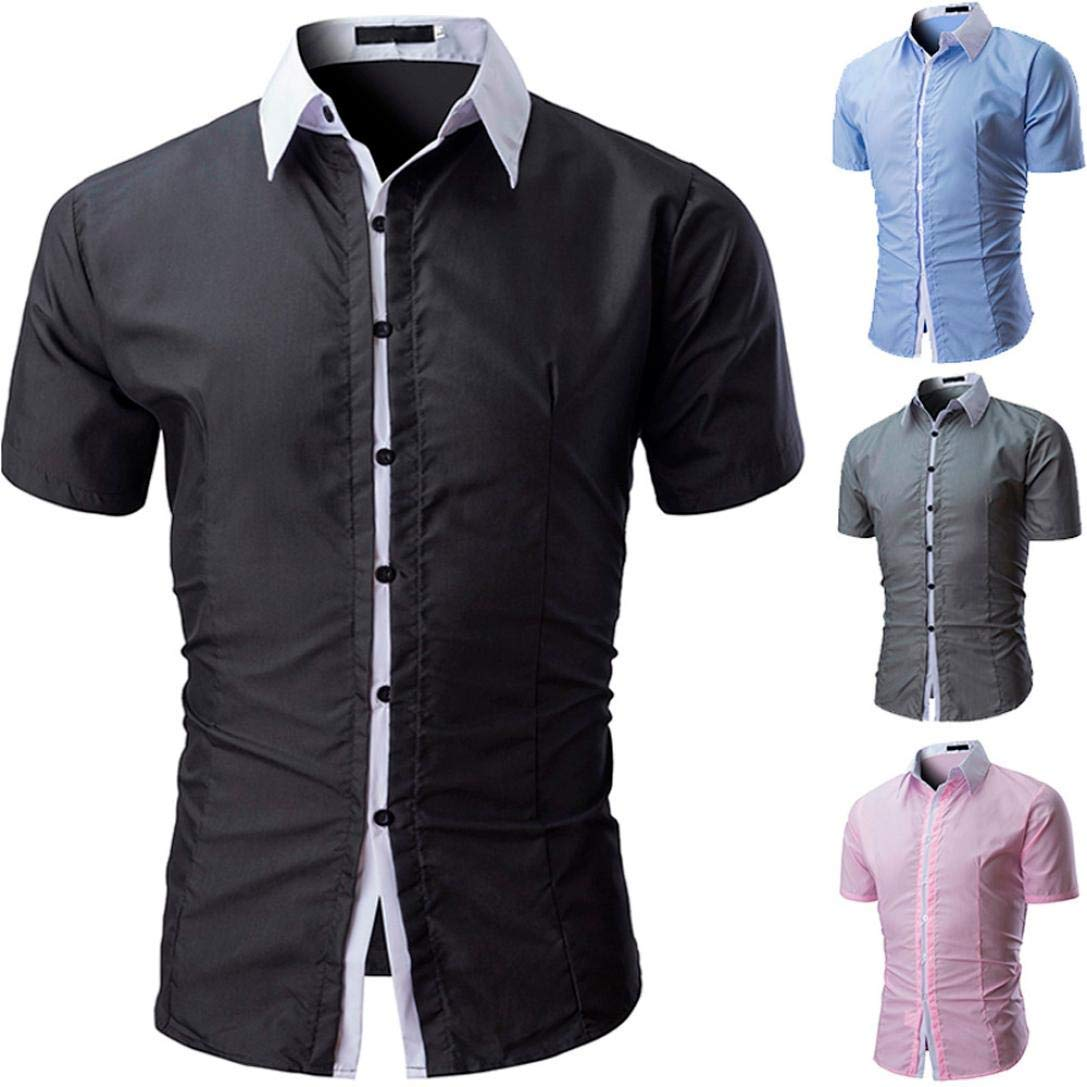 GouuoHi Men Casual Mens Patchwork Blouse Casual Long Sleeve Slim Shirts Striped Printed Tops Mens Shirt Regular Fit Collar Chest Pocket Wild Tight for Men Color : Schwarz1, Size : Mef1um