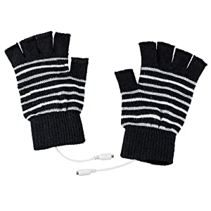 Saftybay USB Rechargeable Fingerless Heated Knit Gloves,Half Leaky Finger Winter Office Worker Warm Hand Heating Gloves Warmer for Women Men Girls Students Arthritis