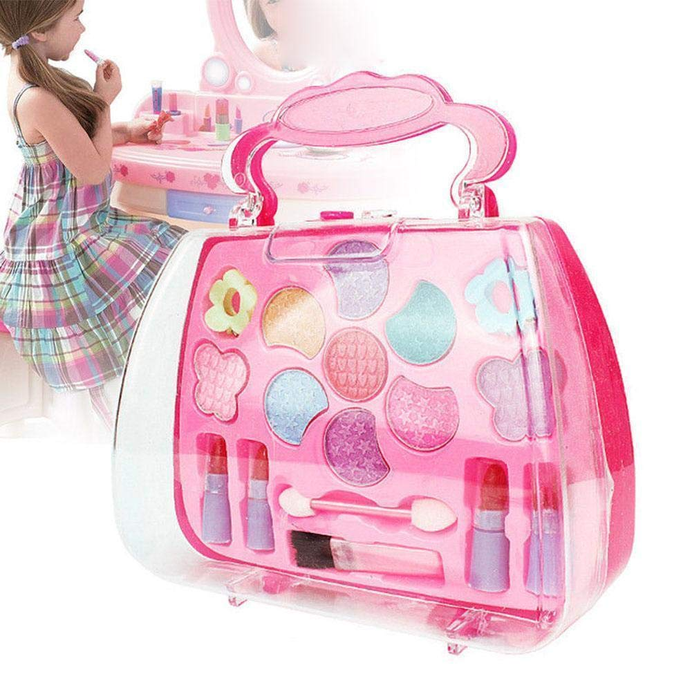 JKABCD Pretend Cosmetics Party Performances Dressing Set Makeup Toy Set Exclusive Glamour Girl Collection Beauty Fashion Princess Cosmetic Suitcase