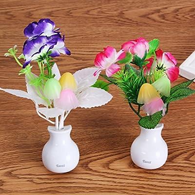 Taozi 2PCS Night light Color Changing Flower Plug In LED Mushroom Nightlight Wall Lights