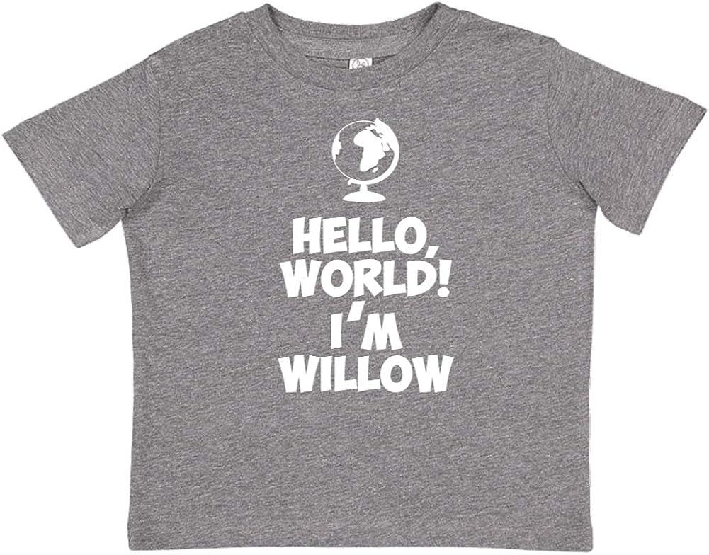 Mashed Clothing Hello Personalized Name Toddler//Kids Short Sleeve T-Shirt World Im Willow