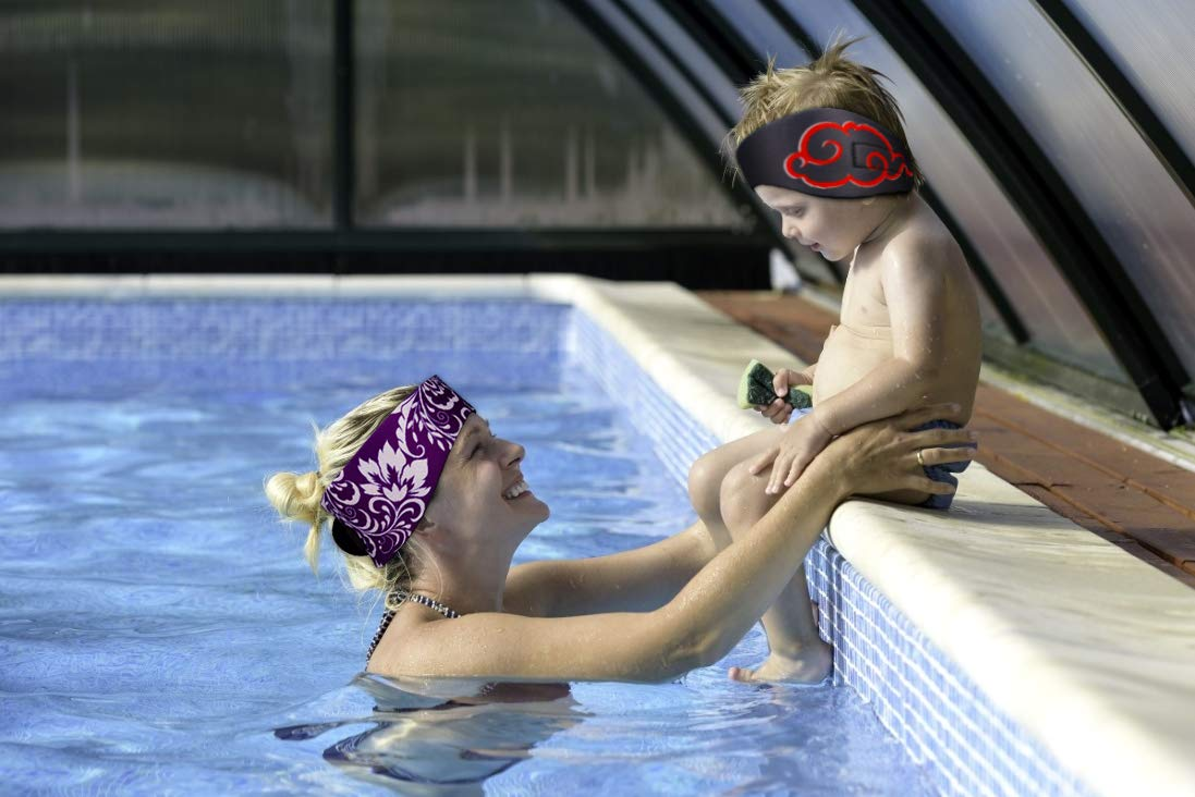 Best Design Ear Band to Protect Swimmers Ears 2 Sizes for Toddlers /& Adults Qshare Swimming Headband Doctor Recommended to Keep Water Out and Earplugs in