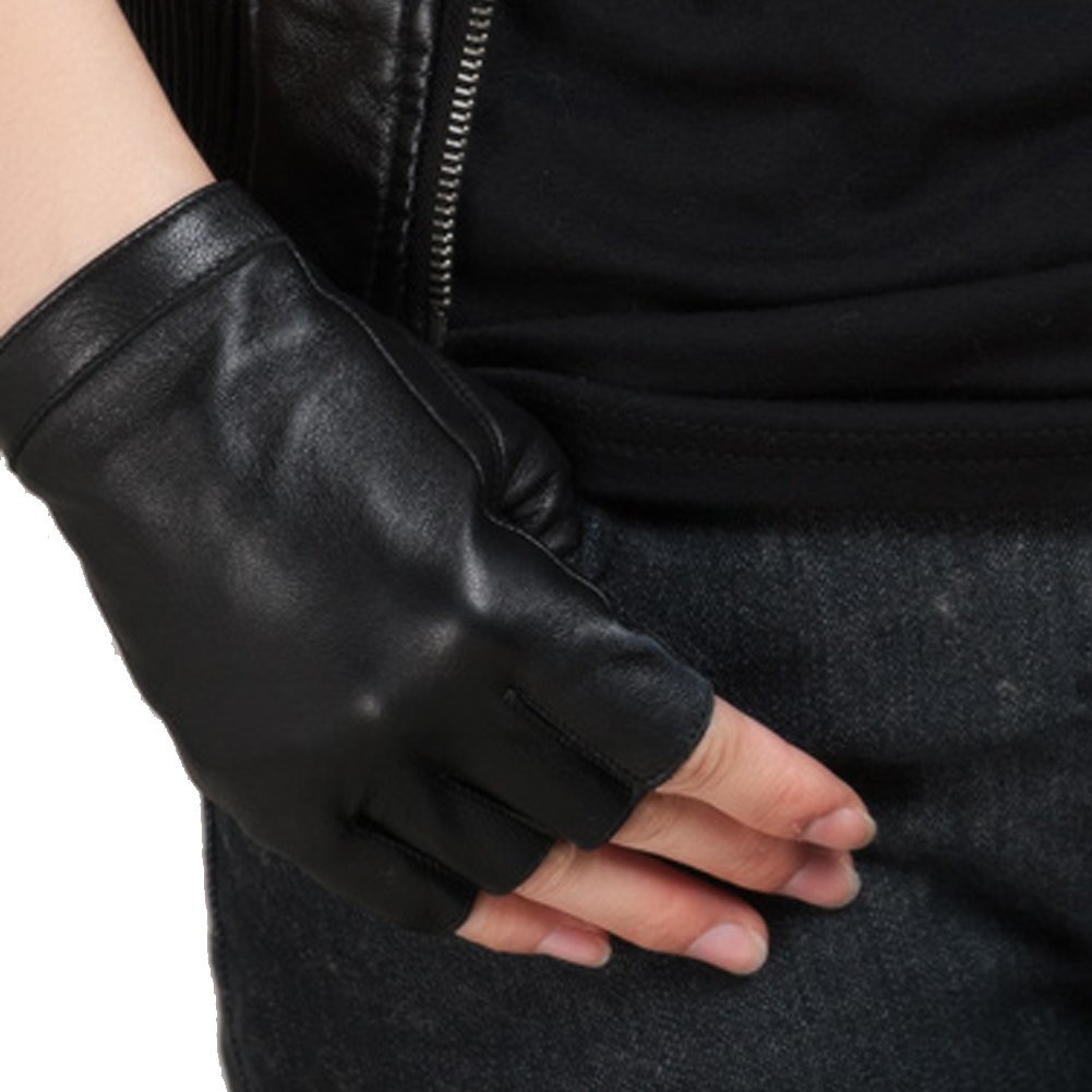 Nappaglo Half-Finger Leather Gloves Goatskin Outdoor Riding for Women (S, Black)