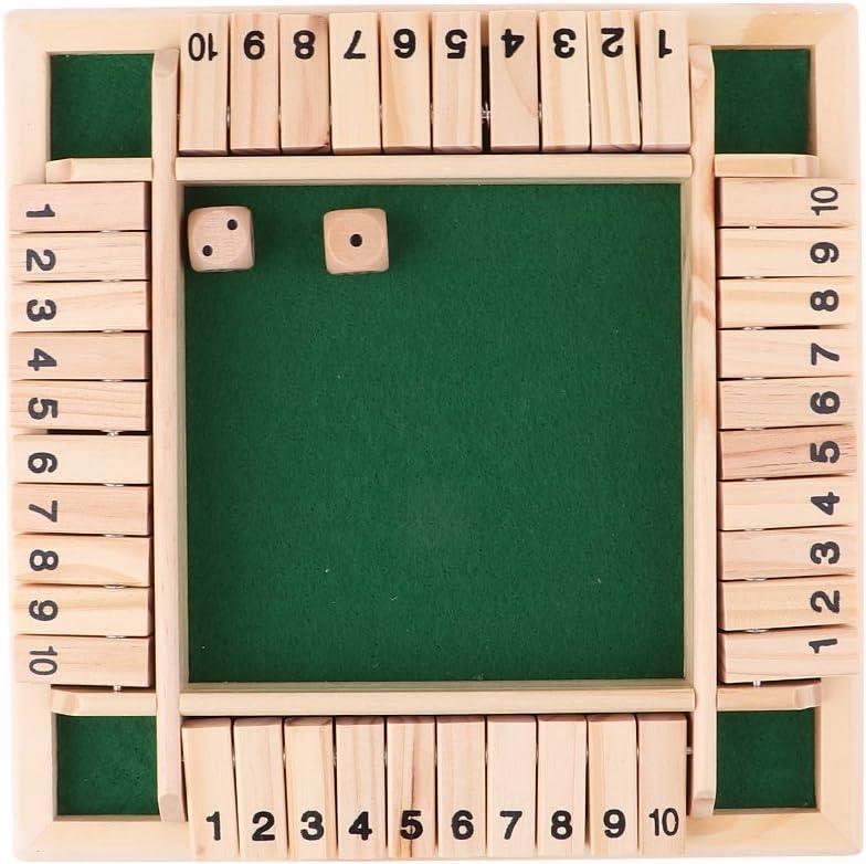 Shut the Box Cierra la Caja Madera 4 Caras 10 Número Juego de Mesa: Amazon.es: Juguetes y juegos