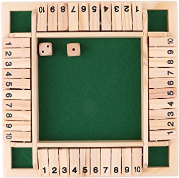 Shut the Box Cierra la Caja Madera 4 Caras 10 Número Juego de Mesa ...