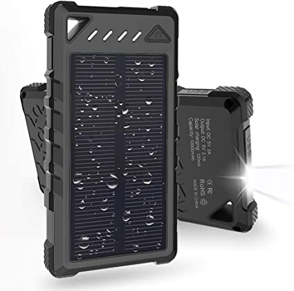Solar Charger, BEARTWO 10000mAh Upgrade 2020 Solar Phone Charger, Ultra-Compact Portable Charger with Dual USB Backup Battery Pack, Solar Power Bank ...