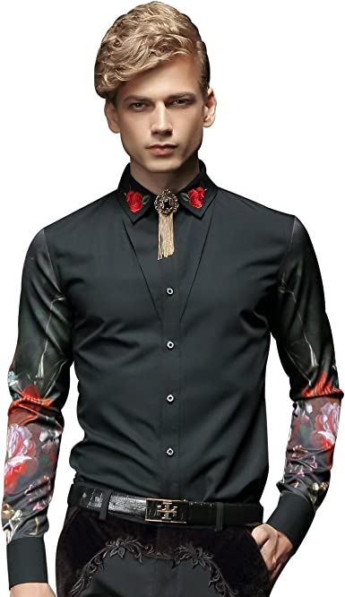 FANZHUAN Camisa Flores Hombre Negra Manga Larga Estampada Camisa Casual Hombre