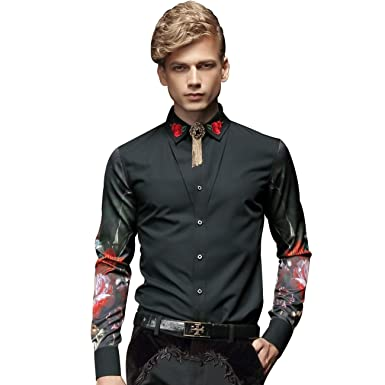 FANZHUAN Flower Shirt Men Dress Slim Fit Embroidery Fashion Long ...