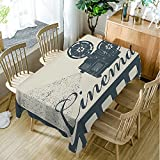 Moslion Tablecloth Movie Theater Frame Cinema Slate Blue Beige tablecloths Rectangular Tablecloths Washable Decorative Polyester Tablecloth for Dining room 60 X 104 inch