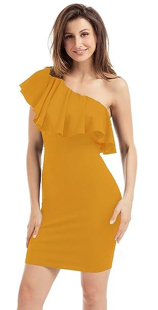 La Vogue Vestido Corto con Volantes Mujer para Boda Fiesta Un Hombro Amarillo S(US