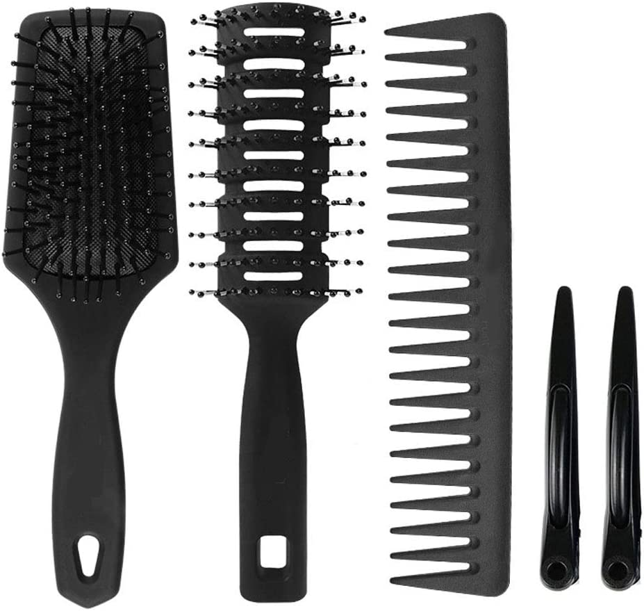 4Pcs Paddle Hair Brush, Detangling Brush and Hair Comb Set for Men and Women, Great on Wet Or Dry Hair, Tangle Hairbrush for Long Thick Thin Curly Natural Hair