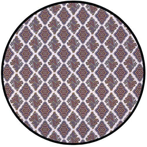 Printing Round Rug,Paisley,Wall Paper Like Design with Ornamental Floral Classical Tribal Pattern Image Decorative Mat Non-Slip Soft Entrance Mat Door Floor Rug Area Rug For Chair Living Room,Multi Co