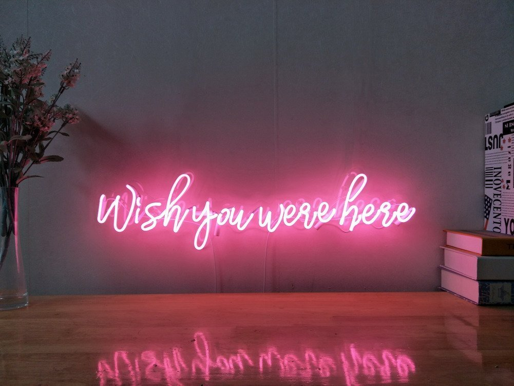 Wish You Were Here Real Glass Neon Sign For Bedroom Garage Bar Man Cave Room Home Decor Handmade Artwork Visual Art Dimmable Wall Lighting Includes Dimmer