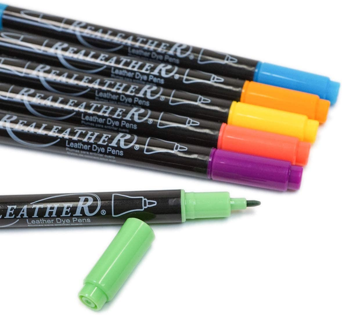 Realeather F2400-05 Leather Dye Pens 6-Pack 6 Bright Colors