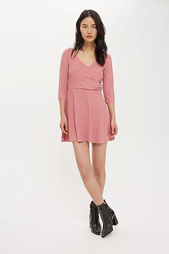 Topshop Petite Pink Long Sleeve Wrap Back Skater Dress UK 14 EURO 42 US 10 - Brand New With Tags: Amazon.co.uk: Clothing